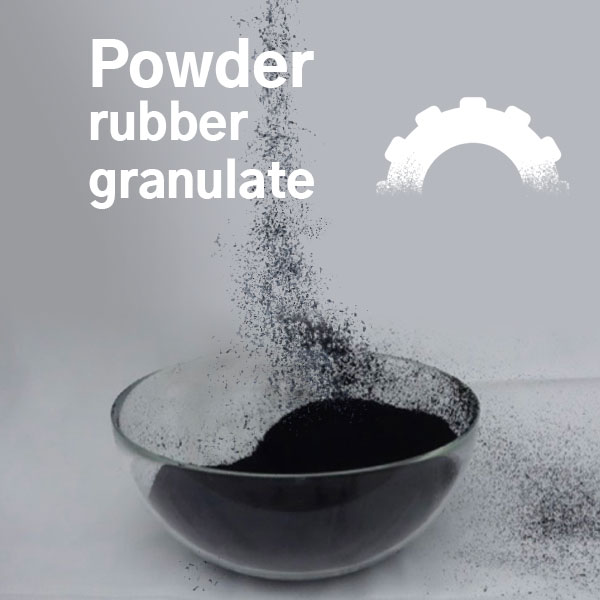 Powder and rubber granulate